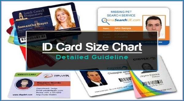 ID Card Size Chart